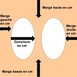 Passe-partout Crescent avec 2 ouvertures ovales