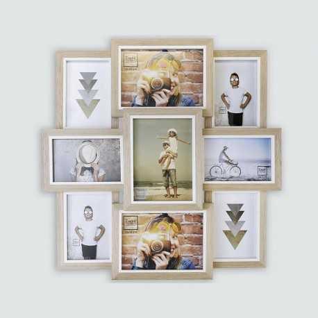 Cadre photo multivues en bois clair avec 9 vues couleur blanc