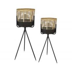 2 Caches pot bambou sur pied métal noir