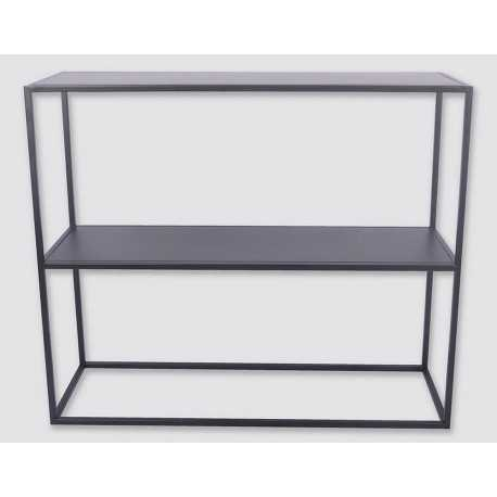 Black metal design console with wires. Dimensions 107 x 30 x 79 cm
