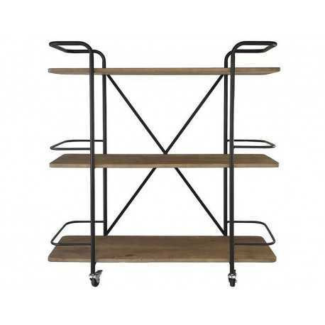 Shelf design black metal, on wheels with 3 wooden shelves