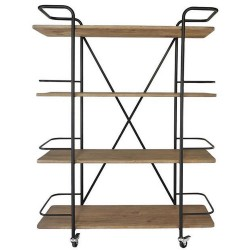 Shelf design black metal, on wheels with 4 wooden shelves