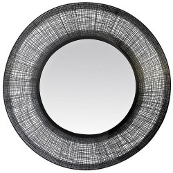Large wired round mirror