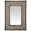 Industrial style metal wood mirror