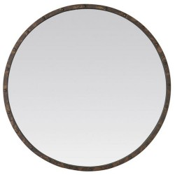 Industrial style metal wood mirror