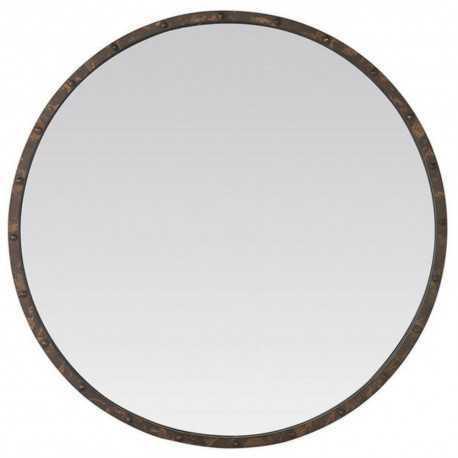 Miroir rond métal rouillé avec rivets style industriel