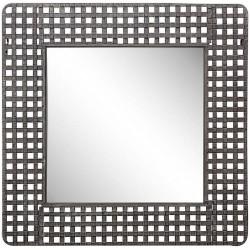Miroir carré métal vieilli style industriel