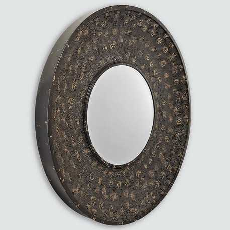 Dark round mirror Moucharabieh