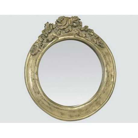 Miroir rond avec rose couleur champagne