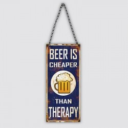 "Plaque métal vintage ""Beer is cheaper than therapy"""