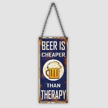 """Plaque métal vintage """"Beer is cheaper than therapy"""""""