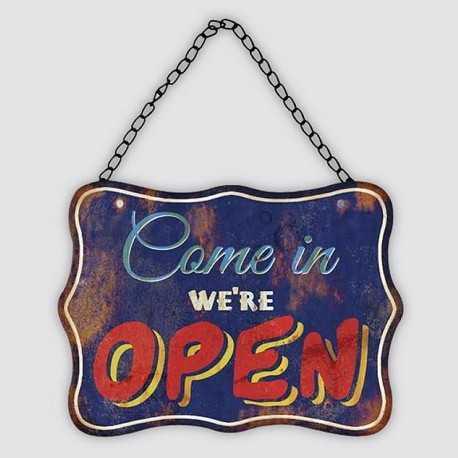 "Retro metal plate / vintage""Come in we're open"""