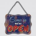 """Plaque métal vintage """"Come in we're open"""""""
