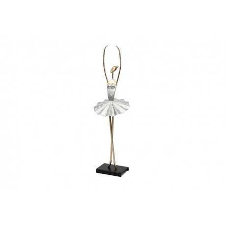 Sculpture métal danseuse demi-pointe, bras couronné