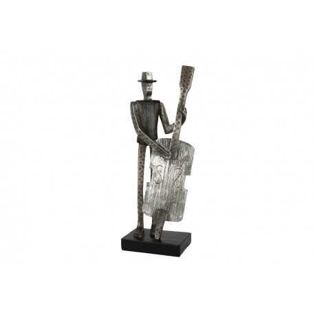 Sculpture, statue de contrebassiste