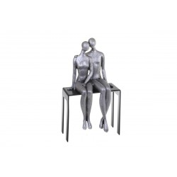 Sculpture, statuette of couple on a bench