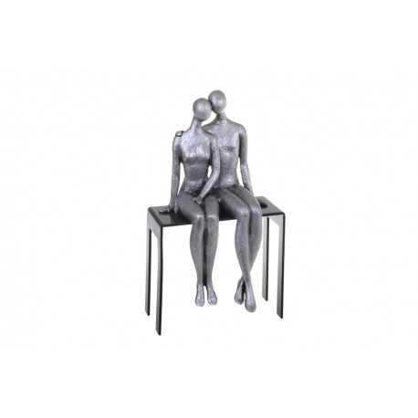 Sculpture, statuette de couple sur un banc