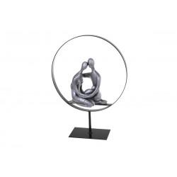 Sculpture, statuette de couple et nouveau-né enlacés