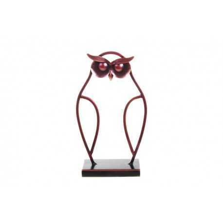 Sculpture, statuette silhouette de chouette rouge patiné