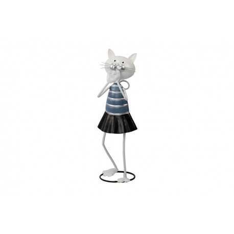 Sculpture, statuette de chat étonné en jupe