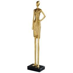 Statuette de femme en résine dorée