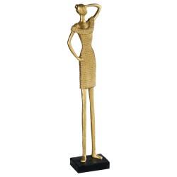 Statuette de femme qui scrute, en résine dorée