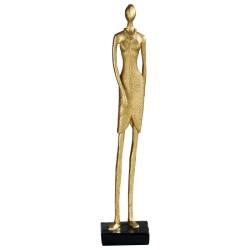 Statuette de femme en robe de soirée, en résine dorée