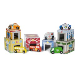 Set of 6 cars with buildings