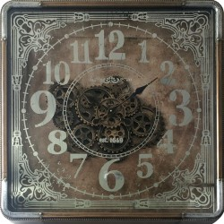 Square clock with gears under glass