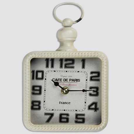 Horloge métal carré blanche