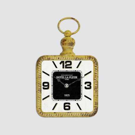 Yellow square metal clock
