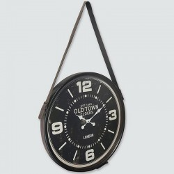 Black hanging clock with leather strap