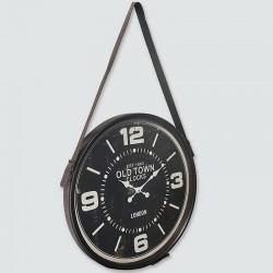 Horloge noir à suspendre avec lanière cuir