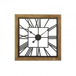 Horloge carré bois métal carré