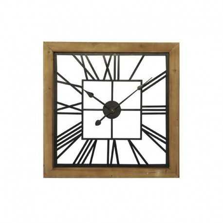 Wood square metal square clock