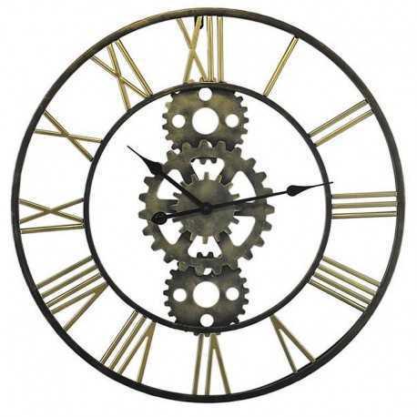 Horloge ronde en métal épurée chiffres or