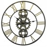 Clean metal round clock with gold numbers