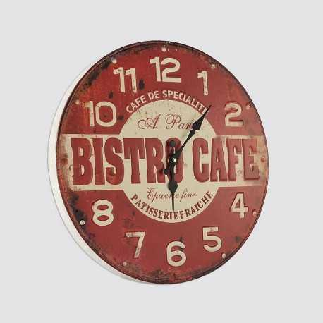Horloge ronde rouge bistrot café