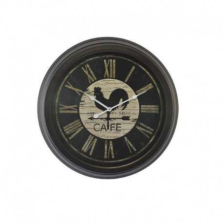 Coffee rooster black round clock