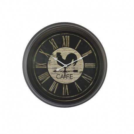 Horloge ronde noir coq café
