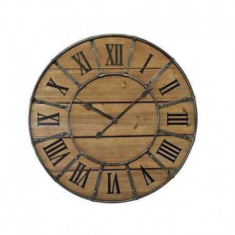 Horloge ronde bois métal rivets