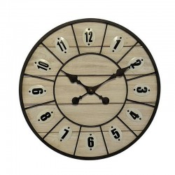 Round light wood metal clock 46 cm