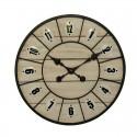 Horloge ronde bois clair métal 46 cm