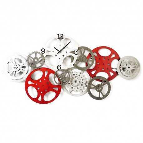 Horloge engrenages métal rouge & gris