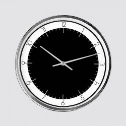 Black, white and chrome round clock