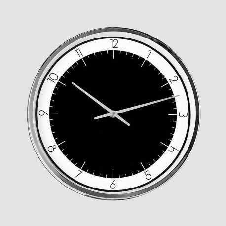 Horloge ronde noire, blanche et chrome