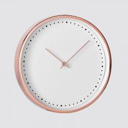Horloge ronde noire, cuivre rose