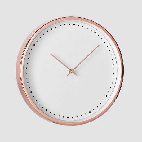 Black round clock, pink copper