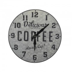 "Round zinc metal clock decor ""Delicious Coffee have a cup"". Diameter 40 cm"