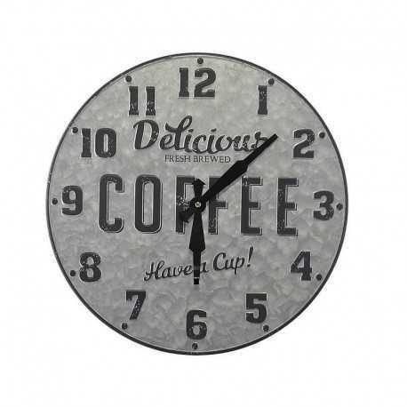 Horloge ronde métal zinc Delicious Coffee